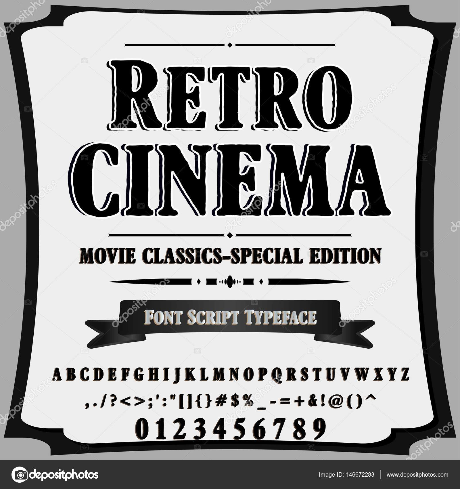 Script Font Typeface Retro Cinema Vintage Script Font Vector Typeface For Labels And Any Type Designs Stock Vector C Elnara Balayeva 146672283