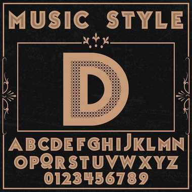 Font music style typeface alphabet vector name