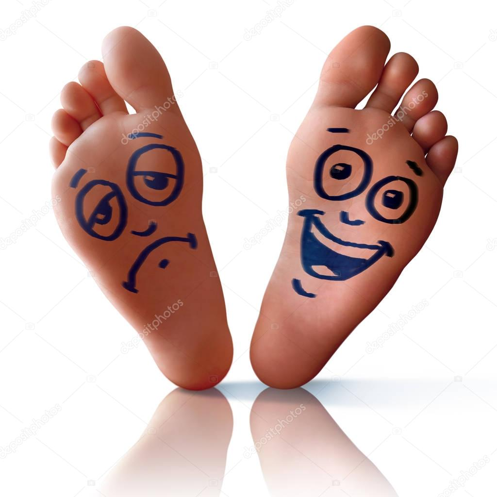 Happy foot and sad foot