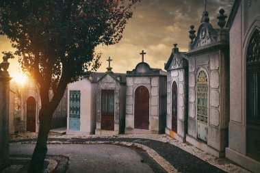 Row of family crypts at sunset in Prazeres Cemetery in Lisbon, Portugal stock vector