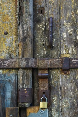 Detail of rusty metallic locks