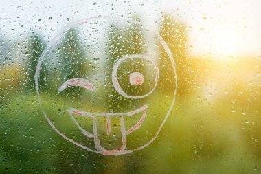 Positive funny smiley on rainy autumn window