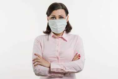 Business woman fears the virus and wears a face mask, white background stock vector