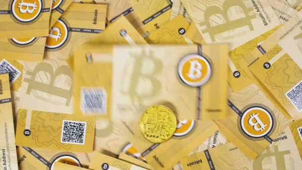 litecoin and bitcoin coins model falling on pile of banknotes