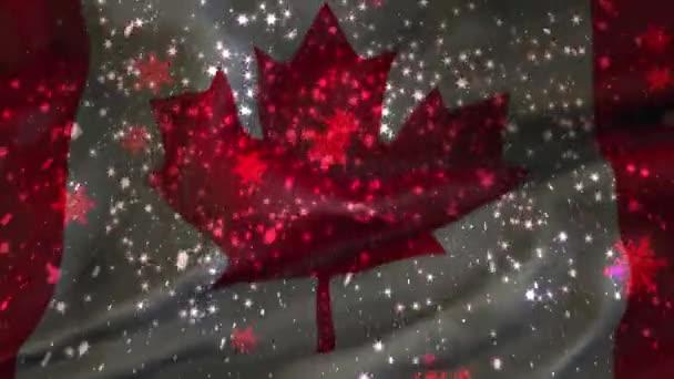 Vánoční pozadí, padající vločky, Kanada, vlajka Kanady, šťastný nový rok
