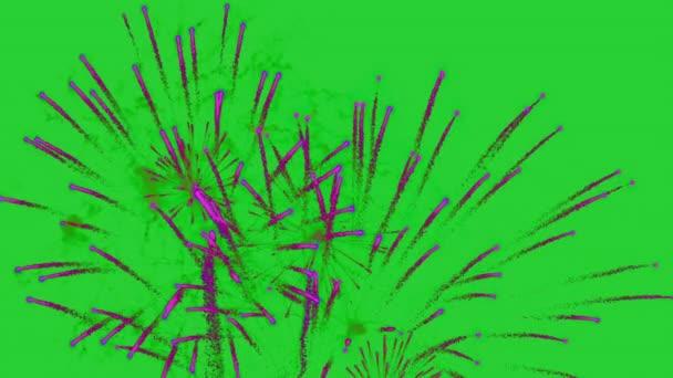 Zářivě barevné ohňostroje a pozdrav různých barev na zeleném pozadí