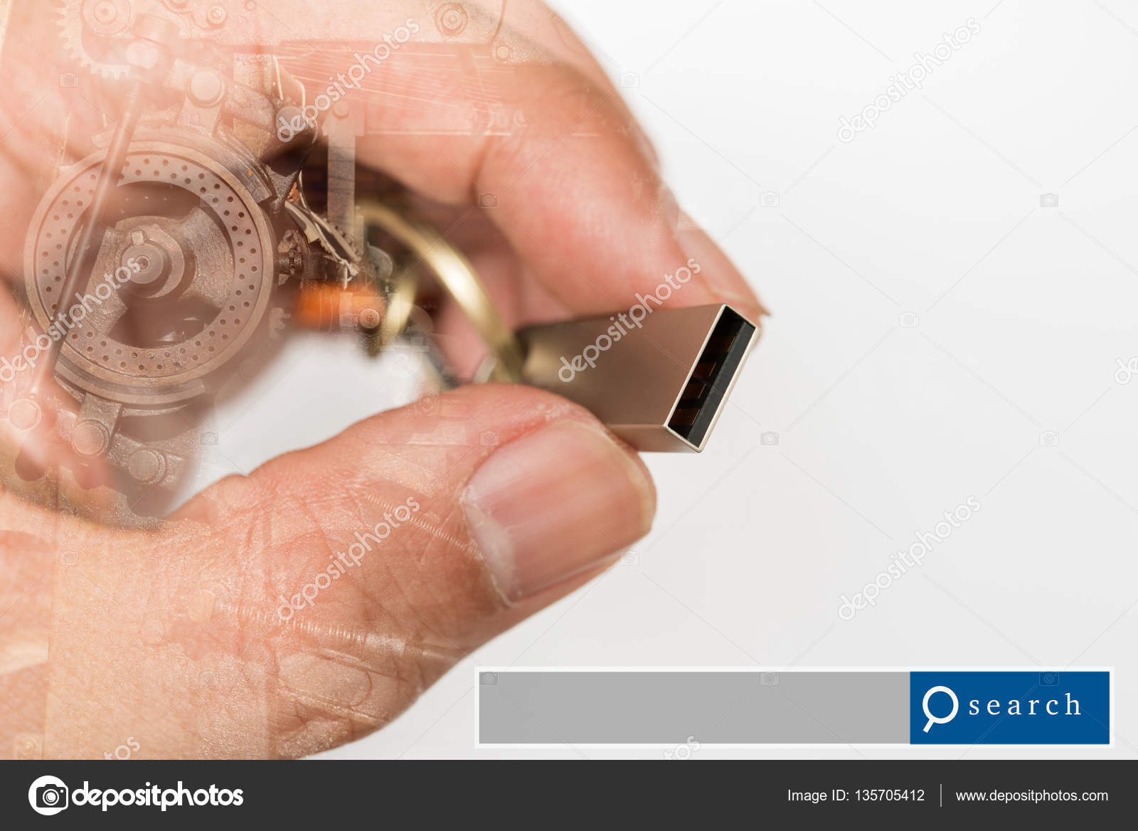 Hand hold USB Flash Drive double exposure with industrial