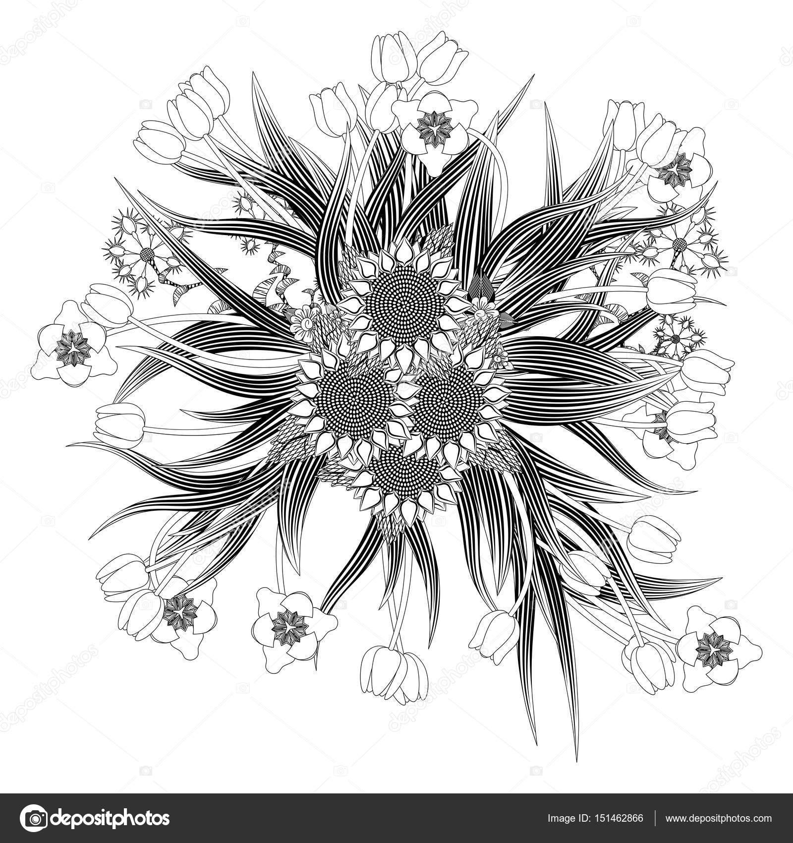 Mandala Strauß Tulpen und Sonnenblumen Wildblumen — Stockvektor ...