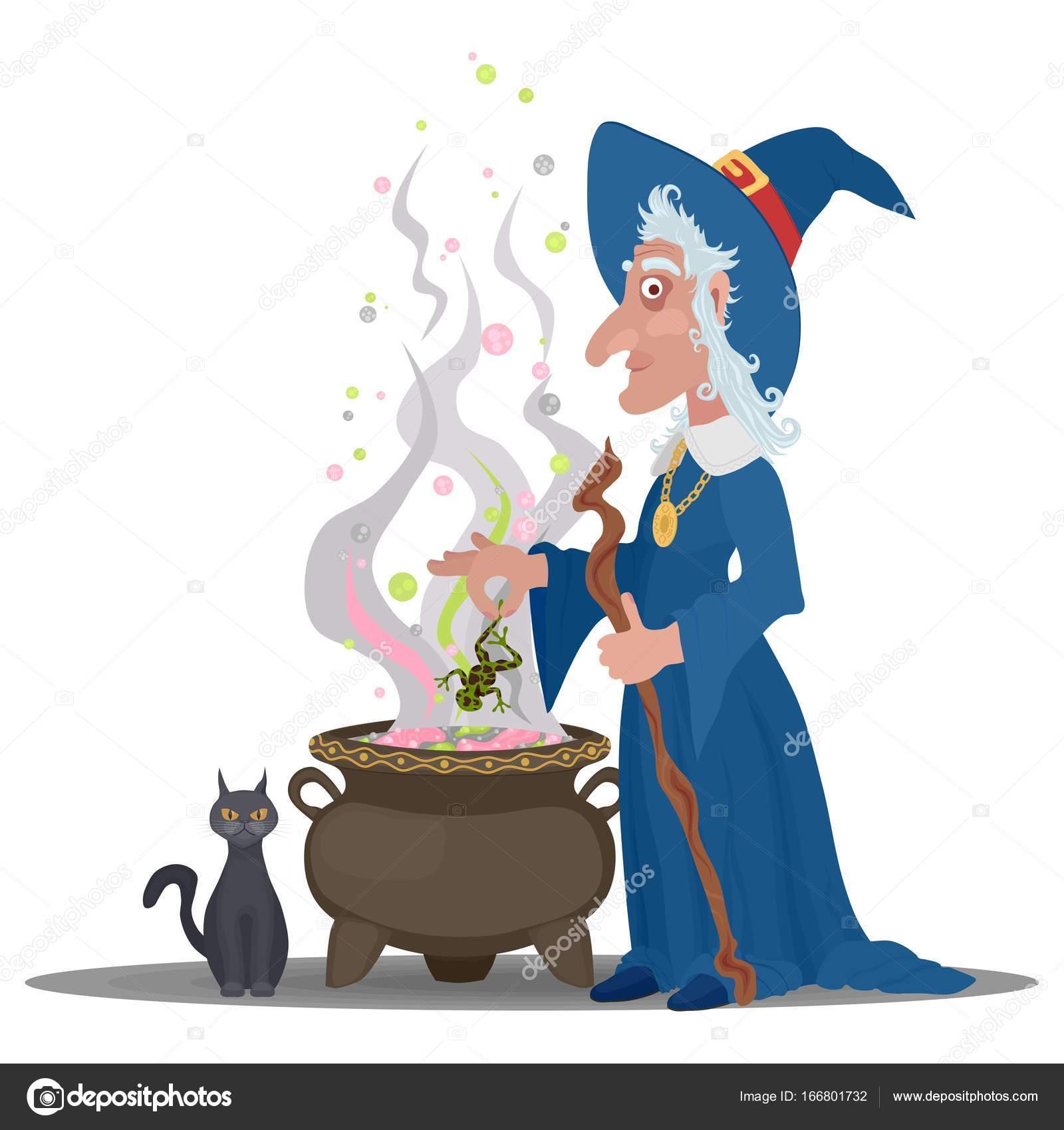 Vieille Sorcière Une Potion Avec Un Chat Dans Un Chaudron De