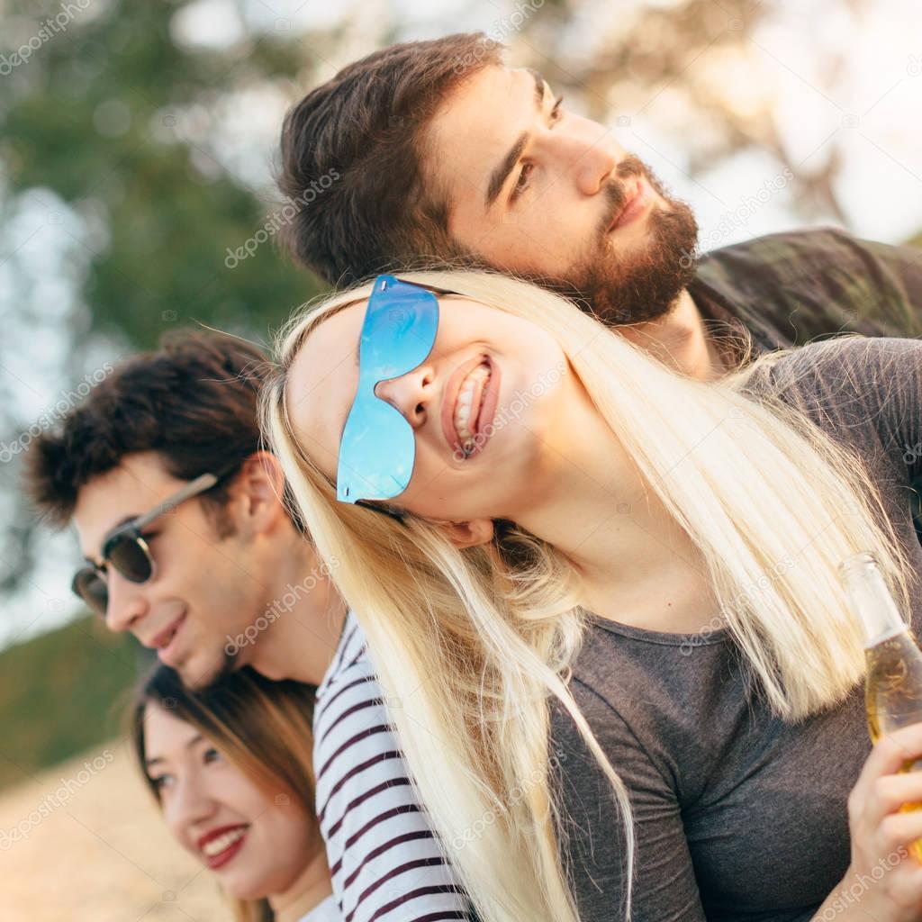 People having fun on sandy beach
