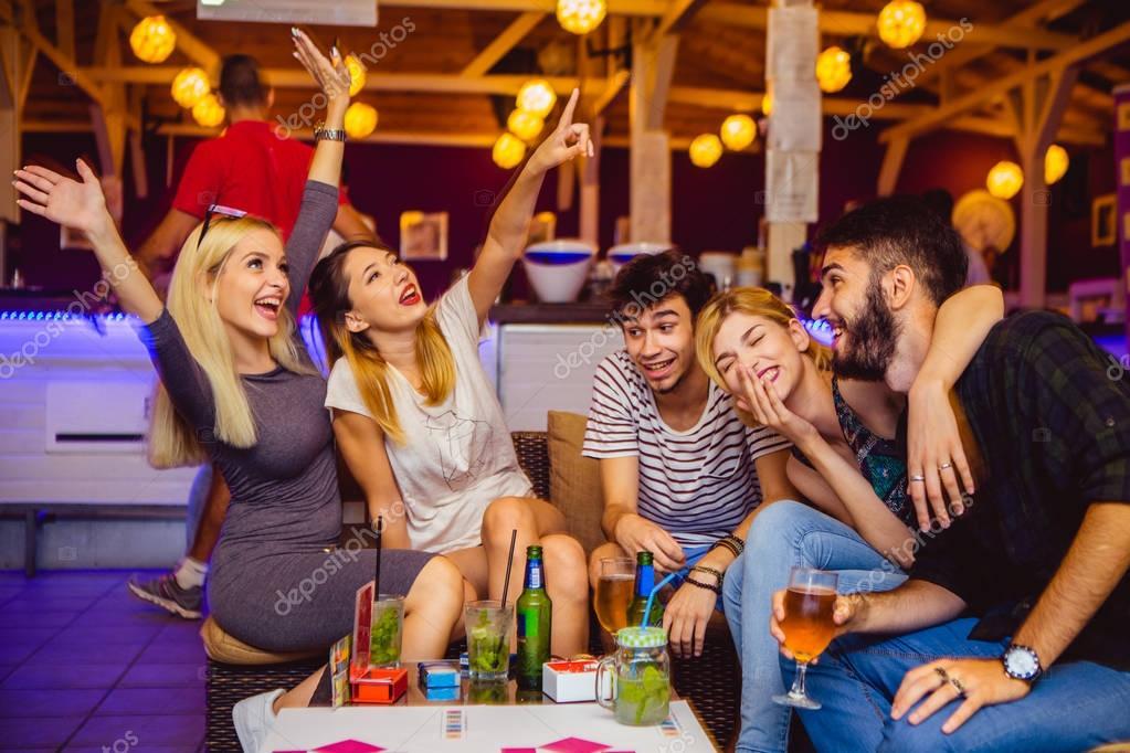 People having fun in night club