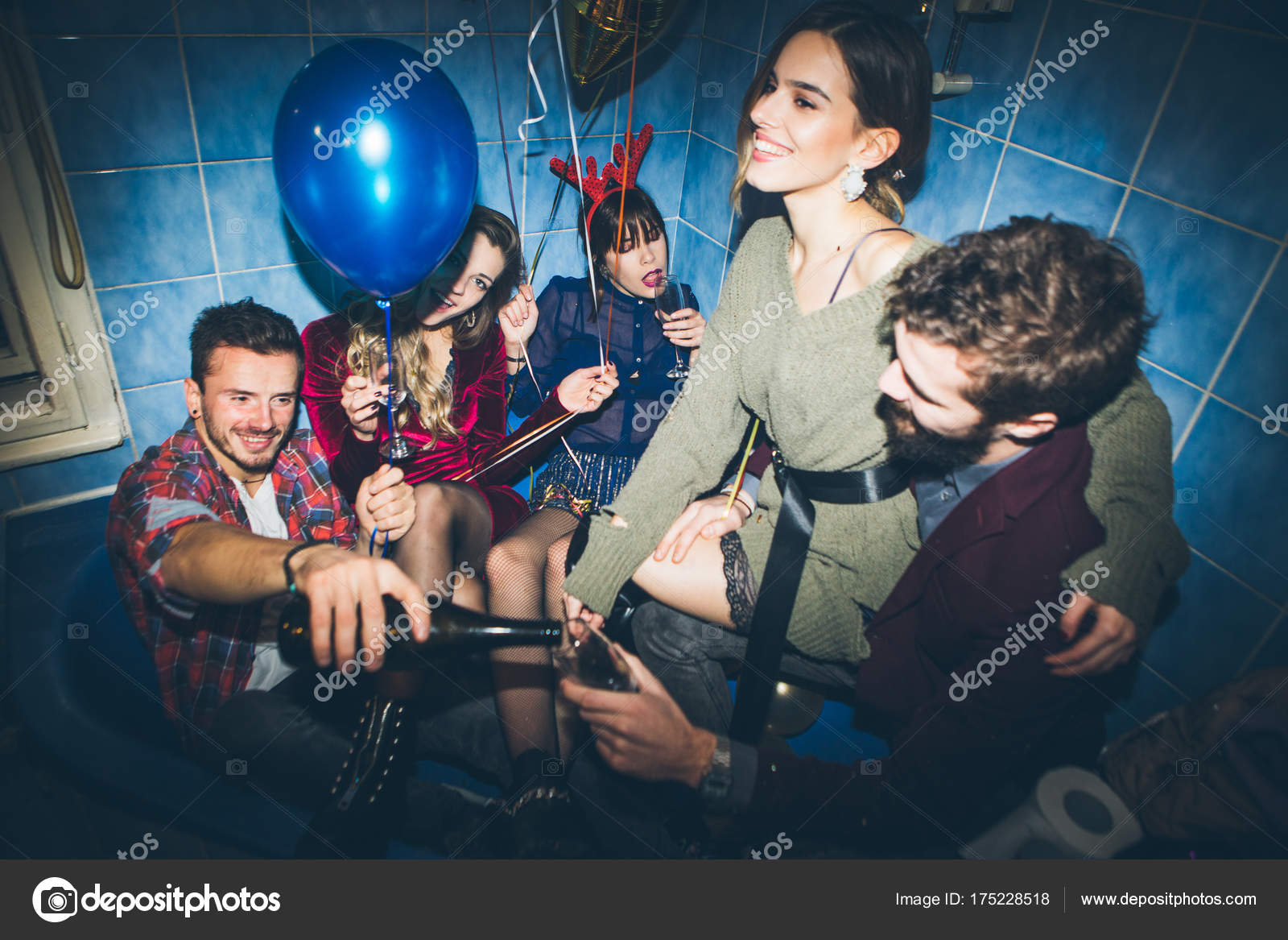 Group Friends Having Party Bathroom New Year Party Stock Photo - Party in the bathroom