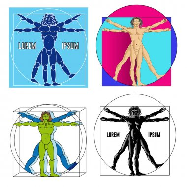 Set of four vitruvian people in different execution.