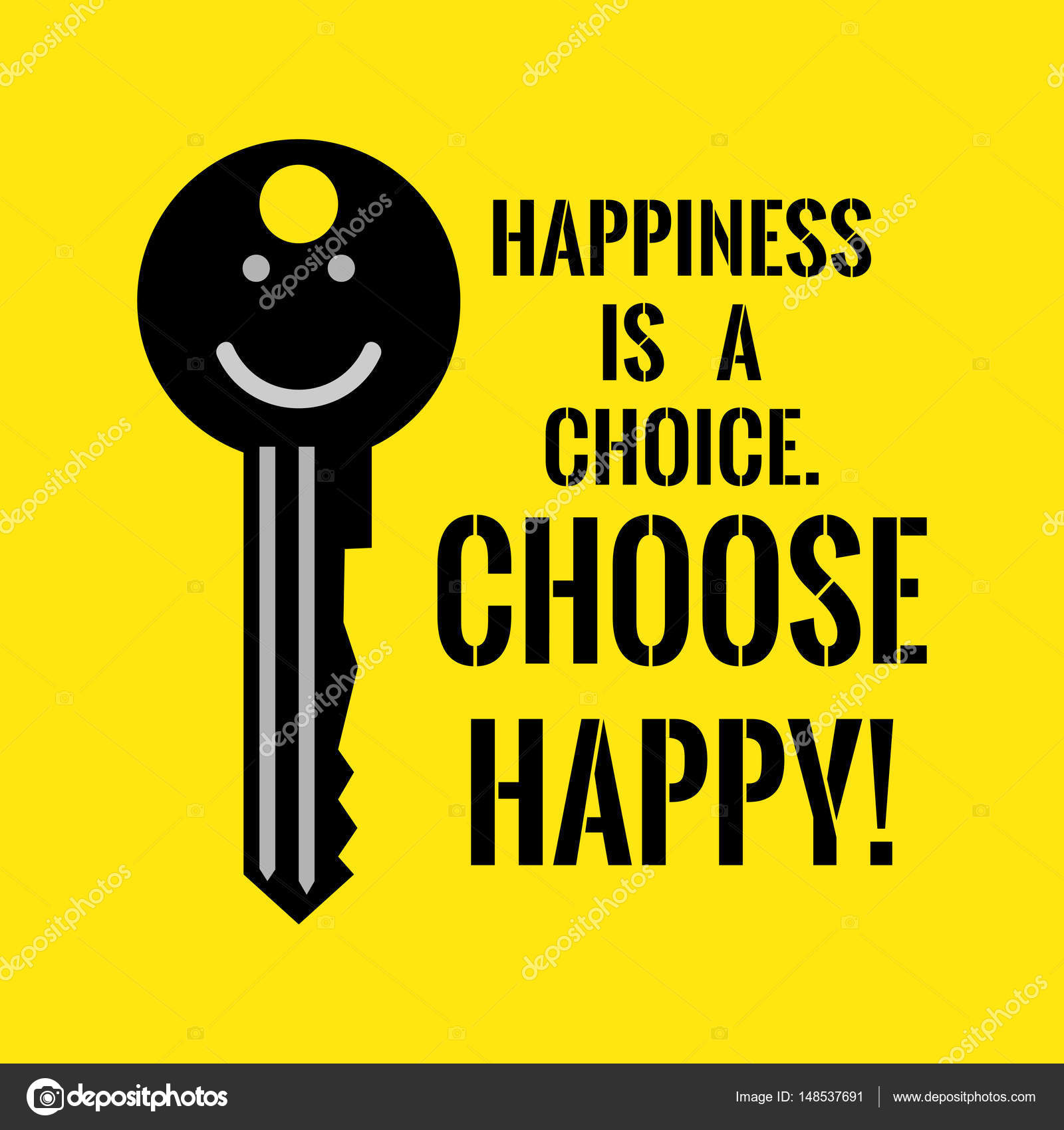 Motivational Quote Happiness Is A Choice Choose Happy Stock
