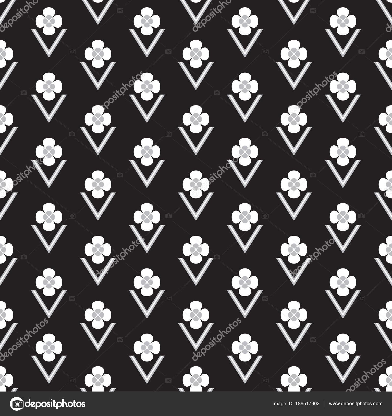 Black Seamless Background Quatrefoil Flower Symbol Shape Stock