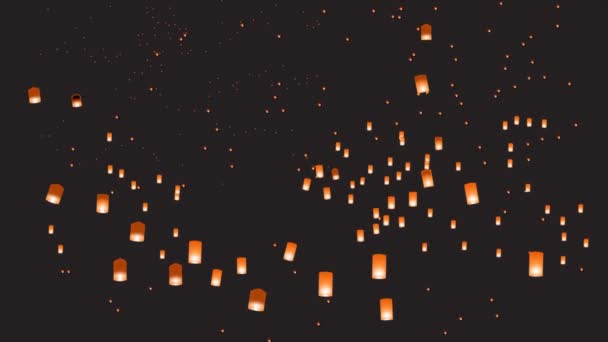 Background with small chinese lanterns in the night sky