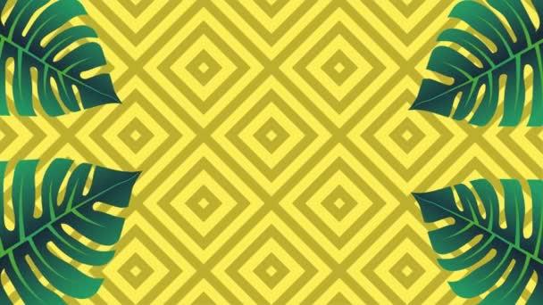 Tropischer Memphis-Stil Hintergrund. Palmenblätter wackeln