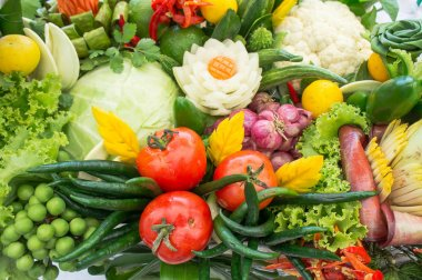 Different raw vegetables background , Healthy eating , organic
