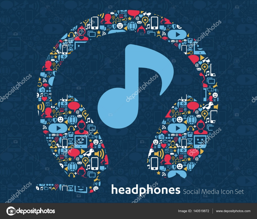 Social media icons speaker headphone music stock vector abstract background with objects group of elements star smiley face sale share like comment vector illustration twitter youtube whatsapp snapchat buycottarizona Choice Image