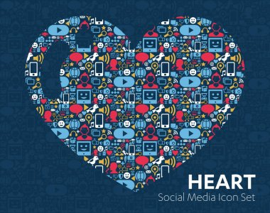Social Media Icons heart love related man