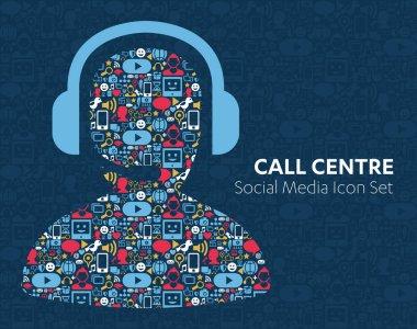 Social Media Icons Call Center Employee Headphone
