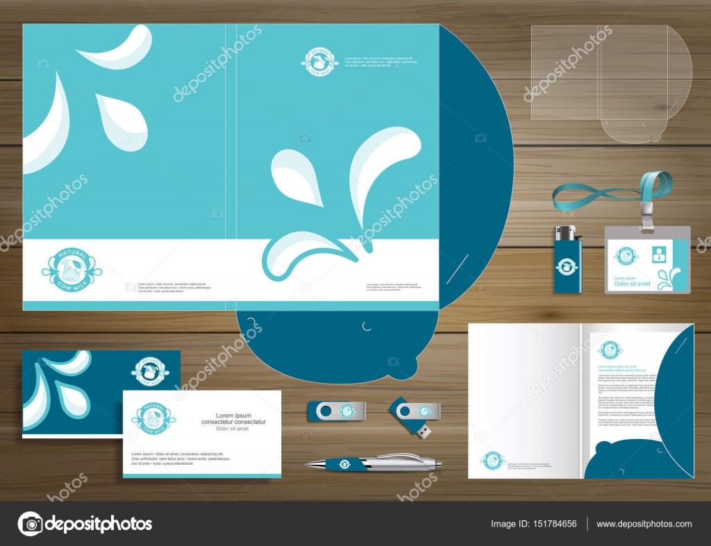 folder template milk cow yogurt or cream design for company, Presentation templates