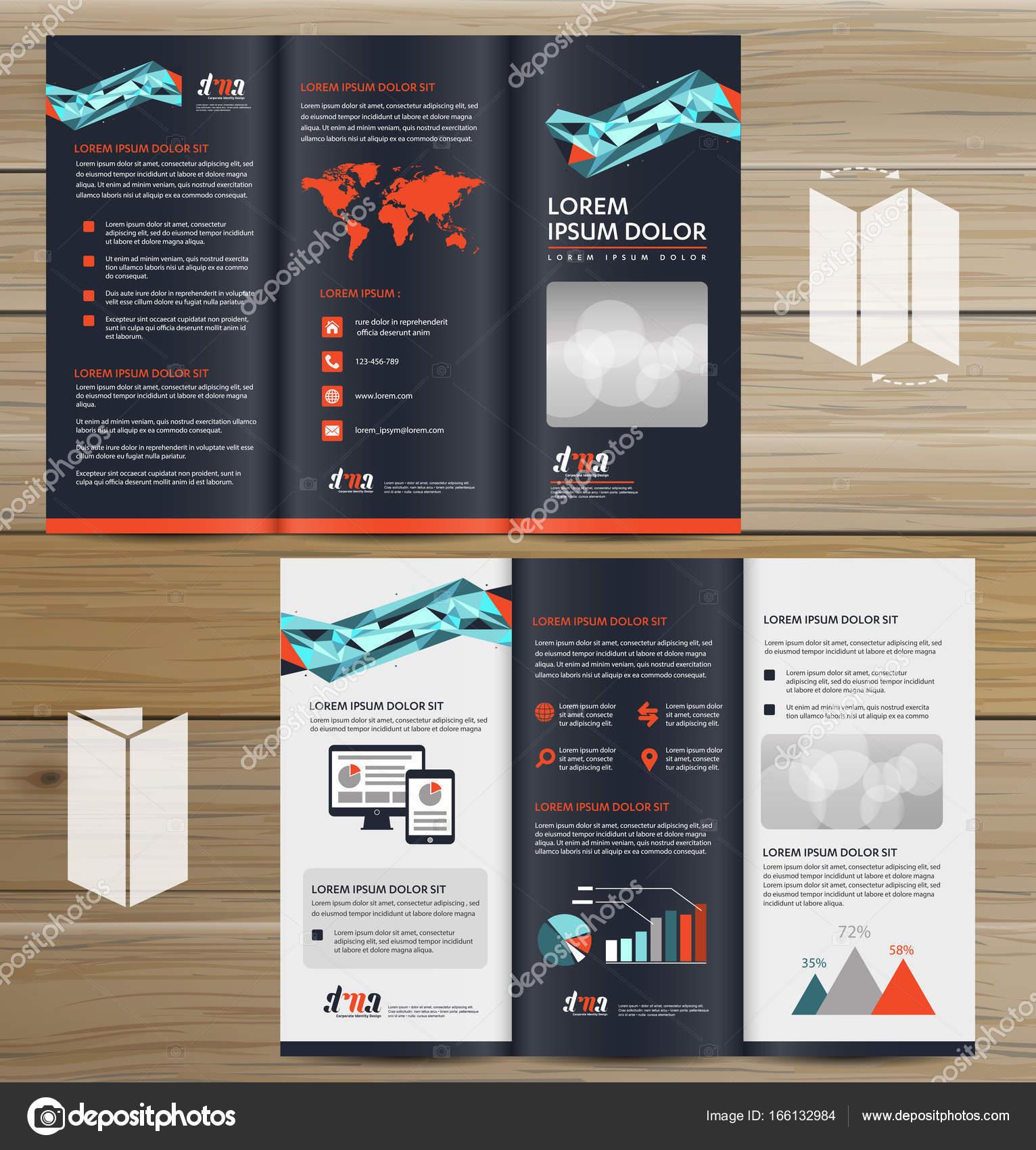 tri fold brochure mock up realistic rendering of tri fold brochure