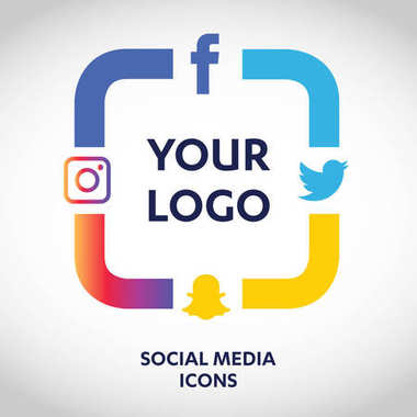 flat icons technology, social media, network, computer concept. Abstract background with objects  group of elements. star smiley face sale. Share, Like, Comment, Vector illustration Twitter, YouTube, WhatsApp, Snapchat, Facebook, instagram
