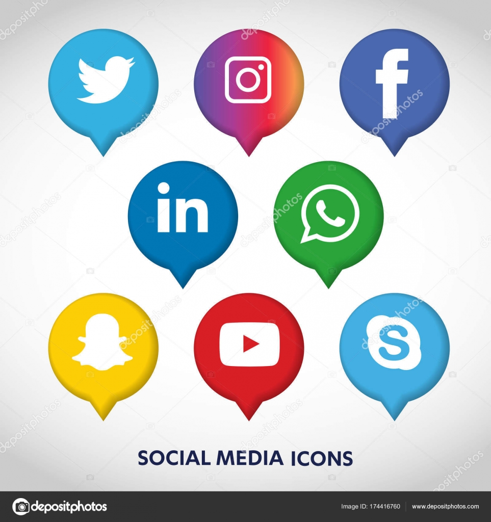 Flat icons technology social media network computer concept abstract background with objects group of elements star smiley face sale share like comment vector illustration twitter youtube whatsapp snapchat biocorpaavc Gallery