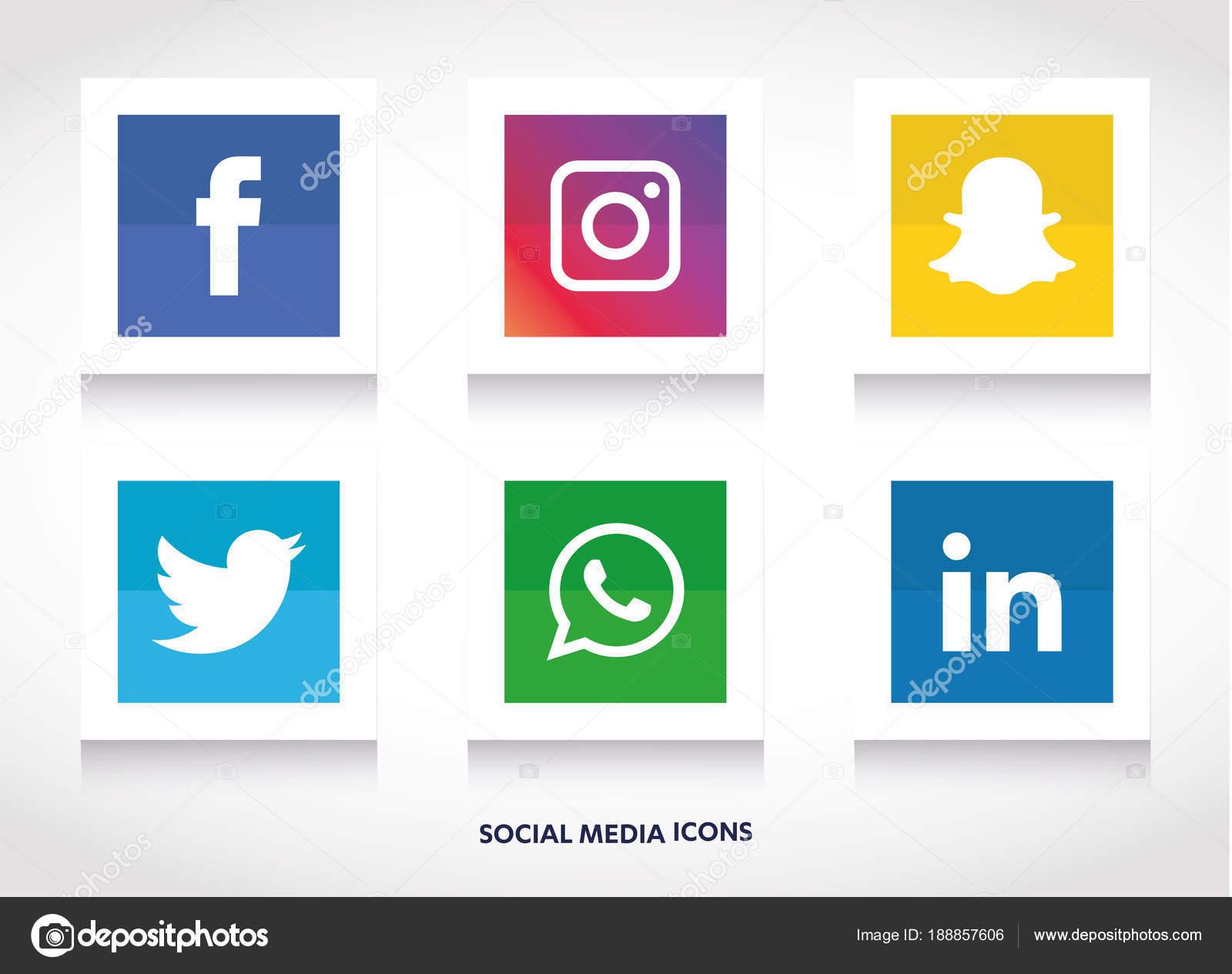 Conjunto Ícones Mídias Sociais Facebook Instagram
