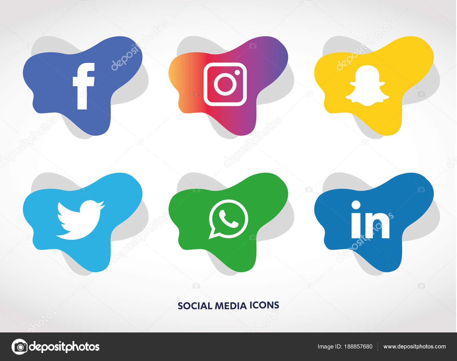 Conjunto Iconos Redes Sociales Facebook Instagram Whatsapp