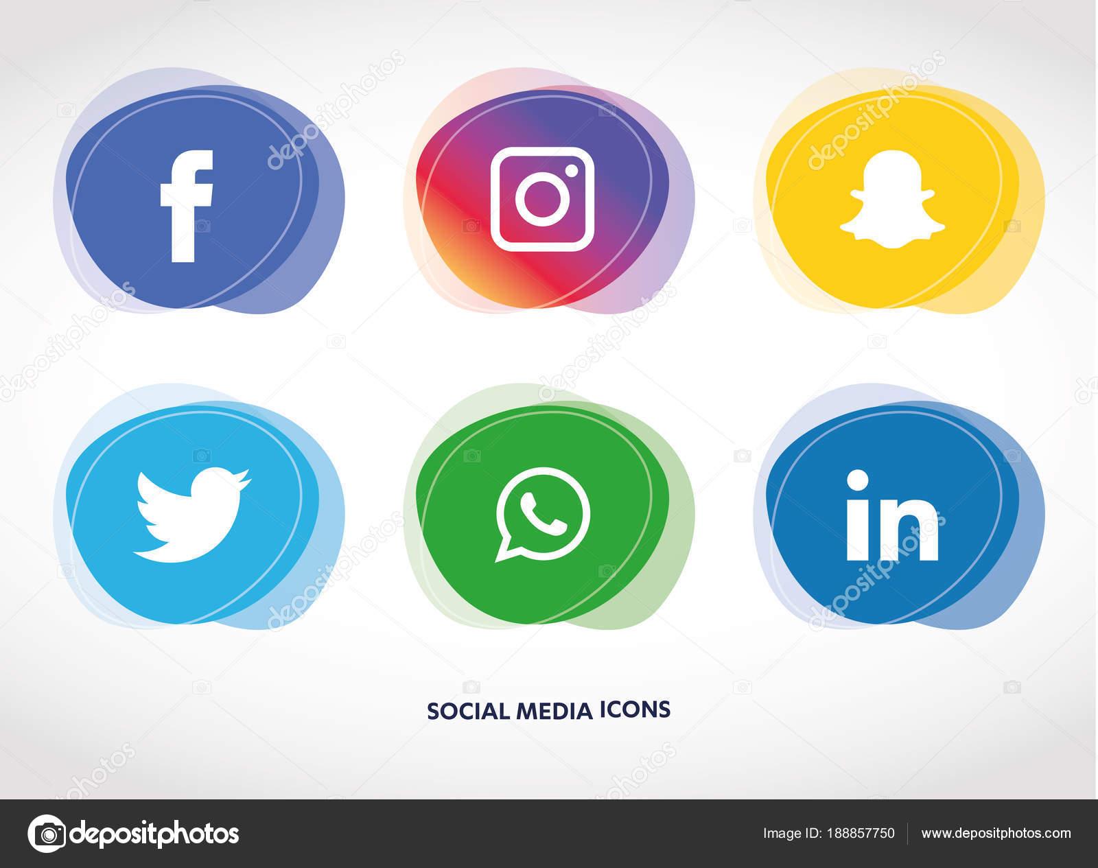Social media icons set. facebook, instagram, Whatsapp, Snapchat, Youtube,  linkedin, in, twitter, — Vector by designmaster81 907c11069d