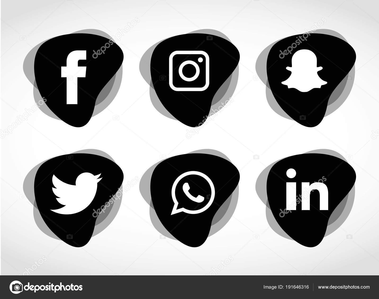 Vector Illustration Instagram: Social Media Icons Set Facebook Instagram Whatsapp