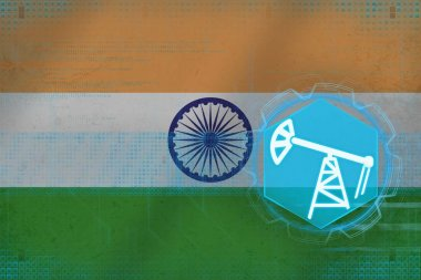India oil industry. Oil well concept.