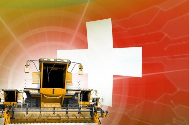 Digital industrial 3D illustration of yellow modern grain combine harvesters on Switzerland flag, farming equipment modernisation concept