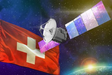 Space communications technology concept - satellite with Switzerland flag, 3D Illustration