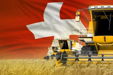 3 yellow modern combine harvesters with Switzerland flag on farm field - close view, farming concept - industrial 3D illustration