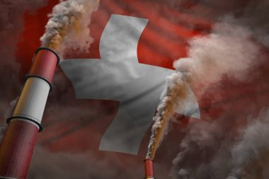 Switzerland pollution fight concept - two big industrial chimneys with dense smoke on flag background, industrial 3D illustration