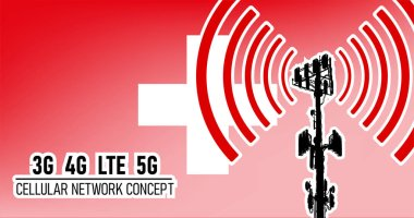 Cellular mobile network tower - connection concept for Switzerland, vector illustration of 3g 4g LTE 5g harmful waves from the tower, danger of 5G networks idea with colors red, white
