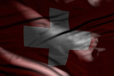 pretty picture of dark Switzerland flag with folds lying in shadows with light spots on it - any holiday flag 3d illustration