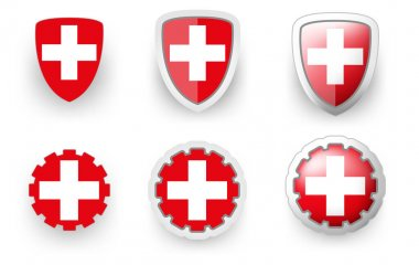 6 vector icons of Switzerland flag shield button and cogwheel, flat and volumetric style in flag colors red, white for poster, flyer