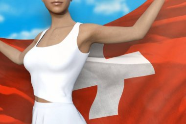 pretty girl is holding Switzerland flag in her hands behind her on the cloudy sky background - flag concept 3d illustration