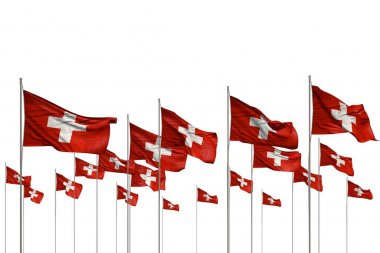 beautiful many Switzerland flags in a row isolated on white with free space for your text - any occasion flag 3d illustration