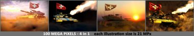 4 pictures of very high resolution modern tank with fictive design and with Switzerland flag - Switzerland army concept, military 3D Illustration