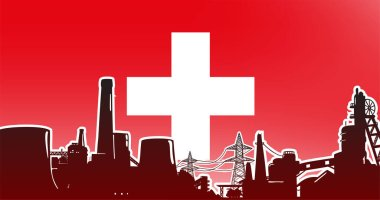 Heavy industry of Switzerland vector illustration colored red with electric power plant, factory and mining facility on the flag background with colors red, white