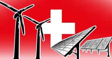 Alternative energy vector concept for Switzerland wind turbines and solar panels on flag background, used colors red, white