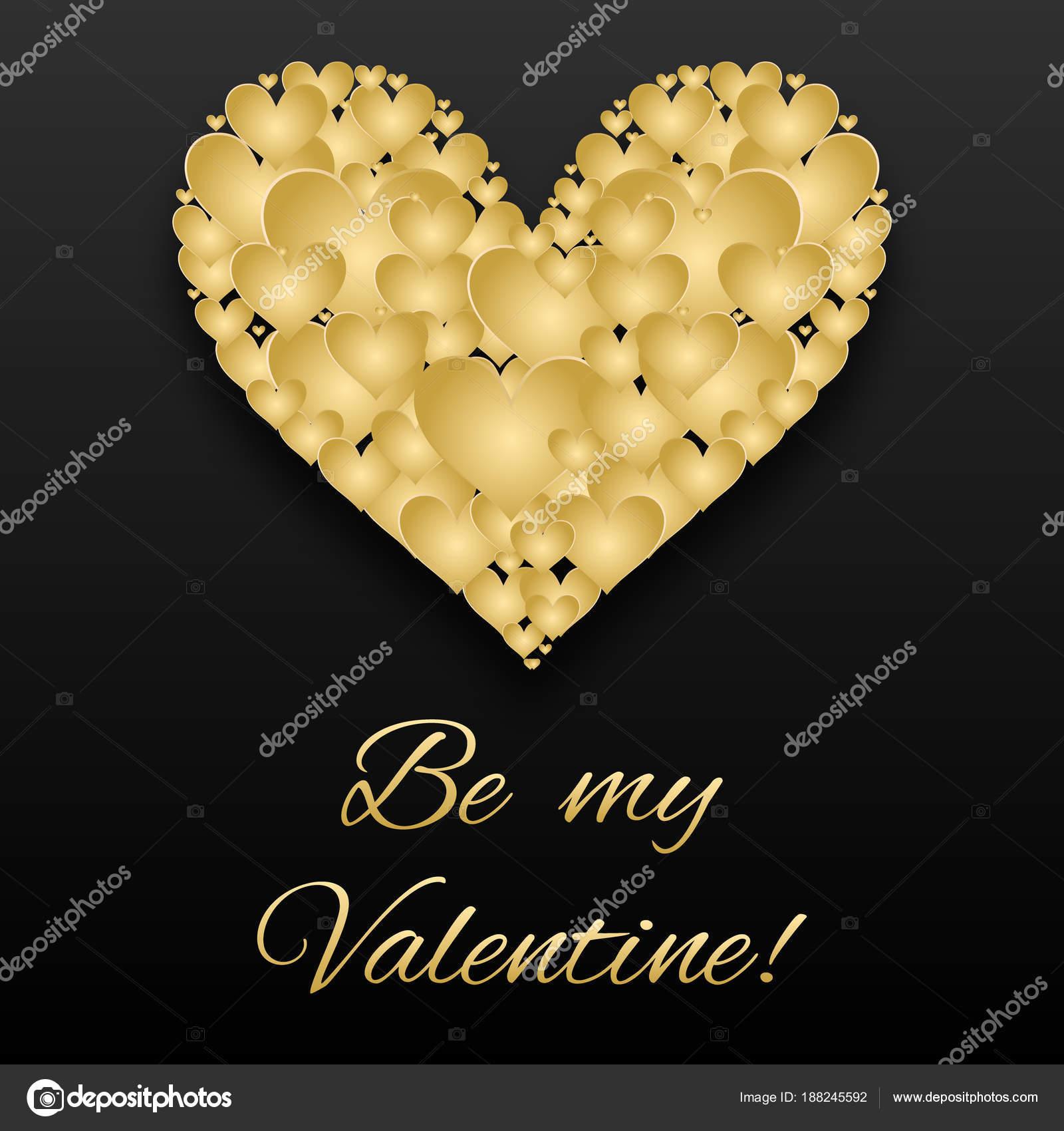Tarjeta de San Valentín corazones dorados sobre fondo oscuro — Foto ...