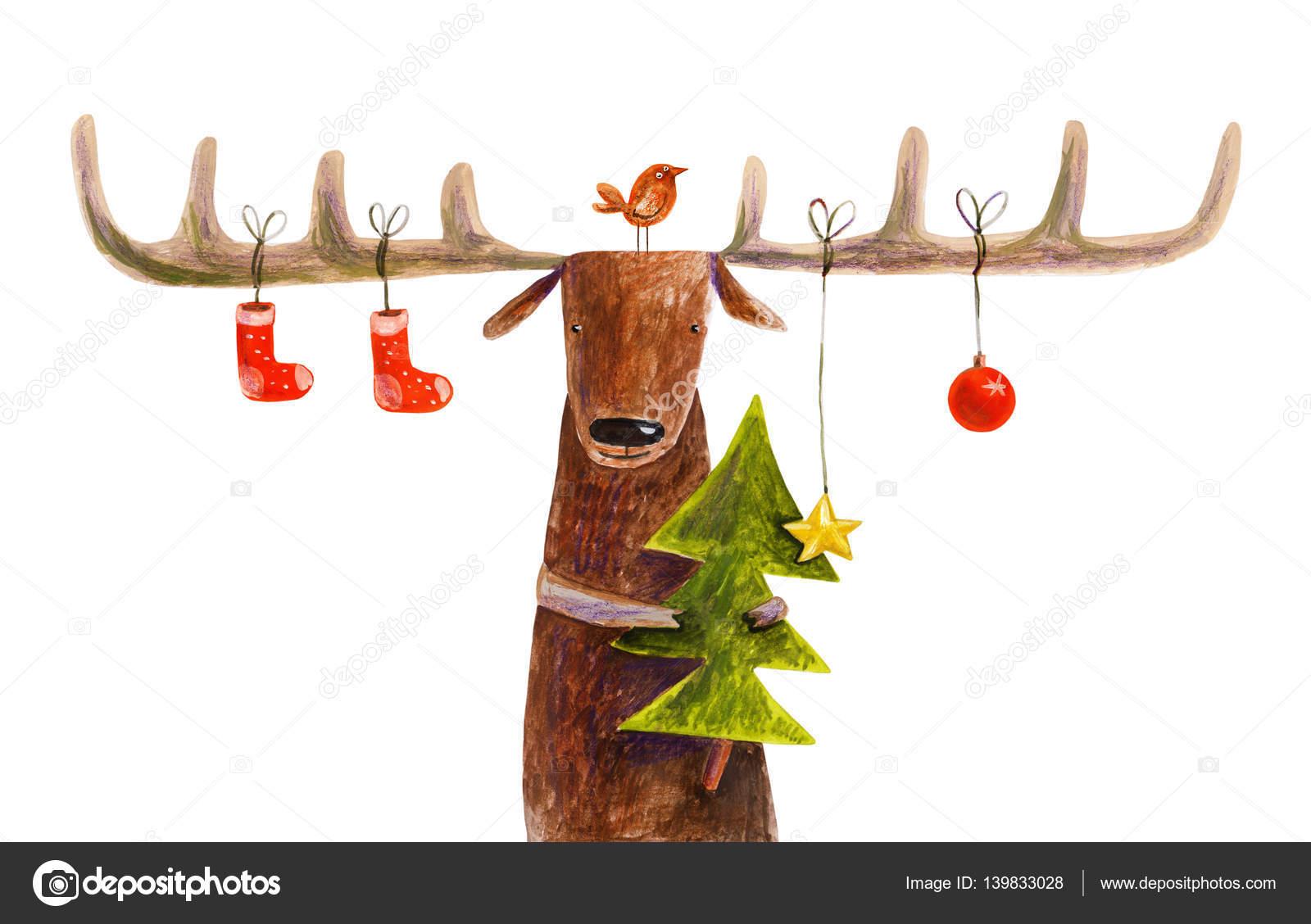 Hirsch mit Weihnachtsschmuck — Stockfoto © Wegener17 #139833028