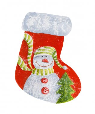 Cute christmas boot with snowman