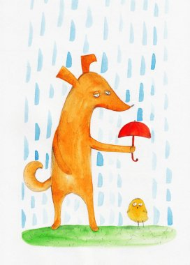 cute hand-drawn dog and chick
